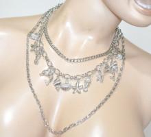 COLLANA CIONDOLI argento donna girocollo catena multi fili catenina charms BB38