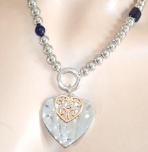 Collana donna ARGENTO girocollo ciondolo CUORE pietre oro collier collar 610