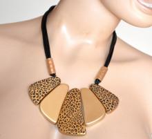 COLLANA donna ciondoli oro dorati leopardati multi fili neri girocollo collier S14