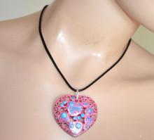 COLLANA donna ciondolo cuore rosa fucsia azzurro girocollo laccio nero catenina PX2
