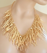 COLLANA GIROCOLLO donna oro collare collarino dorato cristalli ciondoli collier necklace A08