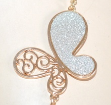 COLLANA LUNGA donna ORO ciondoli farfalle argento girocollo collier elegante da cerimonia E38