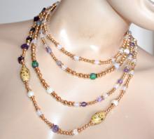 COLLANA LUNGA donna ORO pietre beige viola bianche verdi dorata ciondoli collier S1