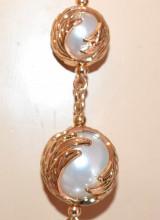 COLLANA LUNGA PERLE bianche donna oro dorata catena laccio collier elegante S5