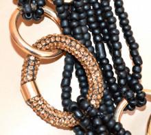 COLLANA NERA anelli oro dorati donna strass girocollo fili perline corallini collier S3