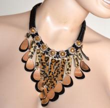 COLLANA NERA ORO donna girocollo cristalli ambra ciondoli bronzo catena metallo tessuto elegante S7