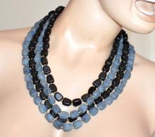 COLLANA PIETRE donna blu nera grigio girocollo multi maglia oro collier necklace S16
