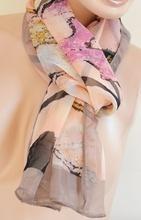 Foulard donna rettangolare 160x50 multicolore beige rosa e nero