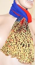 Foulard donna rettangolare 160x50 multicolore blu, rosso, giallo Leopardato