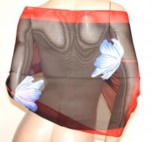 FOULARD donna ROSSO NERO 40% seta sciarpetta fiori stola velata coprispalle G38