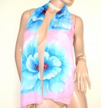 FOULARD ROSA AZZURRO 40% seta donna sciarpetta abito floreale velata stola G34