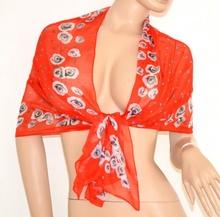 Foulard stola coprispalle donna seta velata cerimonia x vestito da sera elegante rosso x abito floreale 130E