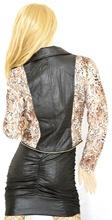 GIUBBINO donna Giubbotto Giacca eco Pelle Leopardato Jacket aderente avvitata jacke chaqueta куртка G05