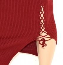 GONNA LUNGA donna AMARANTO stretch elasticizzata ELEGANTE SEXY laccetti long skirt falda 15