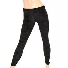 LEGGINGS NERO pantalone donna pantacollant ragazza tinta unita velluto skinny fuseaux Z2