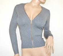 MAGLIA CARDIGAN GRIGIO donna maglietta aperta zip oro manica lunga golfino majica A41