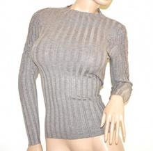 MAGLIETTA BEIGE TORTORA donna maglione manica lunga maglia ricamata sottogiacca A23