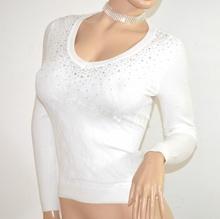 MAGLIETTA BIANCA donna manica lunga sottogiacca pizzo maglia ricamata  strass F130
