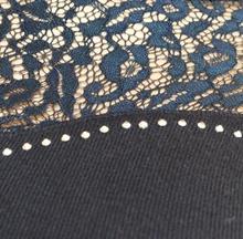 MAGLIETTA BLU collo alto maglione donna manica lunga pizzo ricamato elegante maglia sottogiacca pullover strass Z55