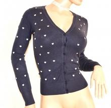MAGLIETTA cardigan donna BLU cuori BIANCHI manica lunga golfino maglia aperta sottogiacca F85