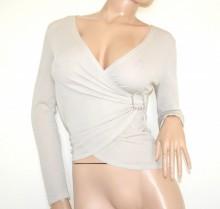 MAGLIETTA donna beige maglia incrociata maniche lunghe sottogiacca lurex fibbia G99