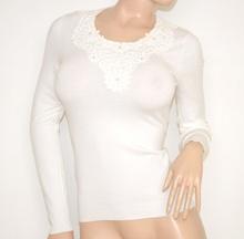 MAGLIETTA donna BIANCA maglioncino manica lunga girocollo ricamata floreale strass maglia sottogiacca Z40