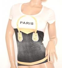 MAGLIETTA donna BIANCA NERA maglia t-shirt cotone manica corta ELEGANTE sottogiacca 35X