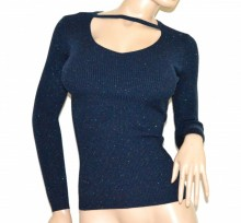 MAGLIETTA donna BLU maglia manica lunga golfino pull over sottogiacca costine G62