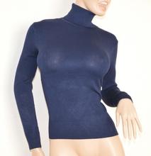 Maglietta donna BLU tinta unita COLLO ALTO maglia sottogiacca maglione maniche lunghe 120