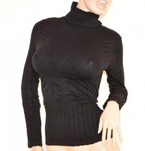 MAGLIETTA donna NERA collo alto manica lunga sottogiacca microfibra maglione H10