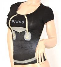MAGLIETTA NERA donna maglia sottogiacca cotone sexy STRASS t-shirt ELEGANTE manica corta 35X