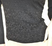 MAGLIETTA NERA donna sottogiacca elegante ricamata maglia maniche lunghe girocollo strass E50