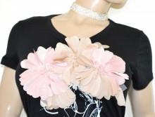 MAGLIETTA NERA donna t-shirt maglia manica corta sottogiacca cotone fiori B30