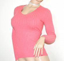 MAGLIETTA ROSA CORALLO donna scollo V maglia maniche lunghe maglioncino sottogiacca B34