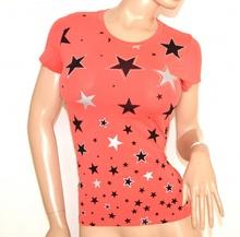 MAGLIETTA ROSA CORALLO donna t-shirt maglia manica corta cotone sottogiacca A22