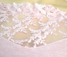 MAGLIETTA ROSA donna maglia manica lunga velata ricamata sottogiacca elegante pullover G72