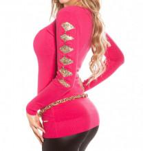 MAGLIETTA ROSA FUCSIA donna maglia paillettes oro sottogiacca scollo V elegante AZ12