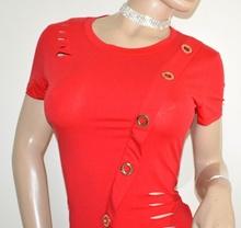 MAGLIETTA rossa donna manica corta cotone elastico girocollo maglia  T-shirt tricou G14