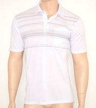 MAGLIETTA uomo POLO cotone BIANCA tinta unita a righe maglia estiva manica corta t-shirt 30A