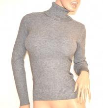 MAGLIONE collo alto GRIGIO maglietta donna manica lunga  maglioncino maglia F135