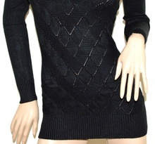 MAGLIONE LUNGO NERO donna maxi pull collo alto maglietta maglia manica lunga G5