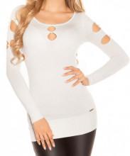 MAXI PULL BIANCO donna maglietta manica lunga maglia sottogiacca maglione lurex AZ14