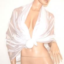 MAXI STOLA BIANCA donna FOULARD 60% SETA scialle elegante coprispalle sposa cerimonia A52