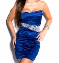 MINI ABITO BLU donna vestito tubino strass cristalli elegante cerimonia dress A9
