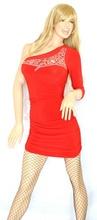 MINI ABITO donna vestito maniche lunghe monospalla abitino miniabito sexy tubino mini dress miniabito kleid vestido V07