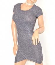 MINI ABITO GRIGIO AVION donna vestito mezza manica corta viscosa sexy elasticizzato E200