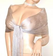 MINI STOLA ARGENTO GRIGIO foulard donna scialle filo rete sciarpetta frange G33