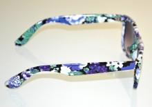 OCCHIALI da SOLE donna BIANCHI fiori blu viola verde fantasia floreale lenti ovali BB4