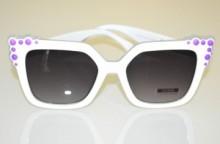 OCCHIALI da SOLE donna BIANCHI viola glicine lenti nere ondulate sunglasses BB6