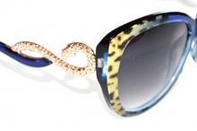 OCCHIALI da sole donna blu oro maculati lenti ovali serpente leopardati F10